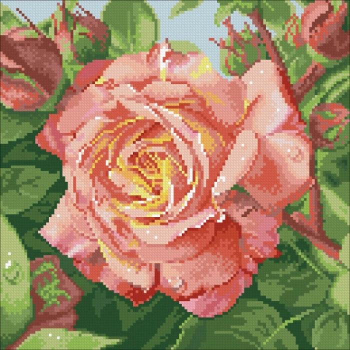Набор Паутинка для изготовления картины со стразами арт.М208 Чайная роза 30х30 см