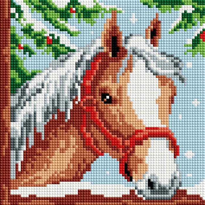 Набор Белоснежка для изготовления картин со стразами арт.БЛ.464-ST-PS Белогривая лошадка 20х20 см