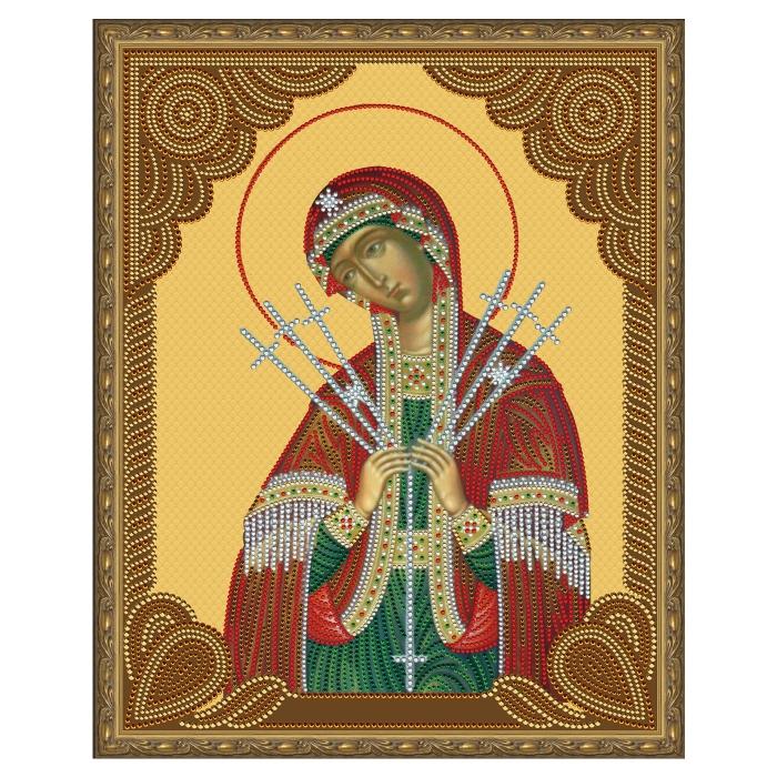 Картина 5D мозаика с нанесенной рамкой Molly арт.KM0797 Семистрельная Божия Матерь (13 цветов) 40х50 см
