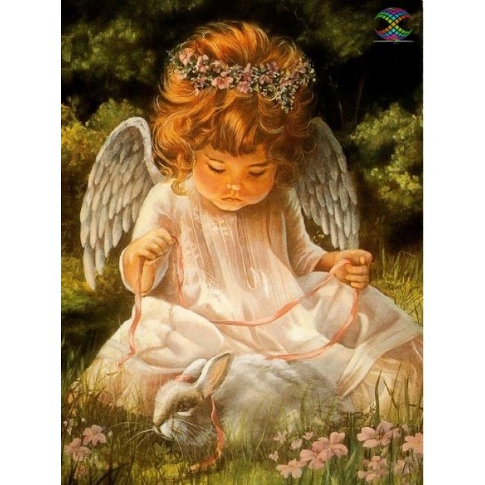 Алмазная мозаика Ah0001 Ангел с кроликом 30х40