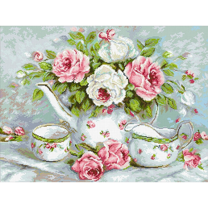 Набор Паутинка для изготовления картины со стразами арт.М258 Розовый чай 60х45 см