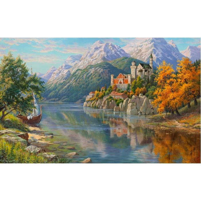 Картина 3D мозаика с нанесенной рамкой Molly арт.KM0917 Прищепа. Замок в горах 40х50 см