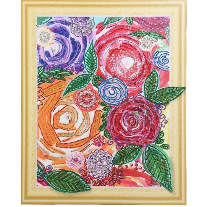 Набор Колор Кит картина алмазная с фигурными стразами арт.КК.FKA005 Винтажные цветы 40х50