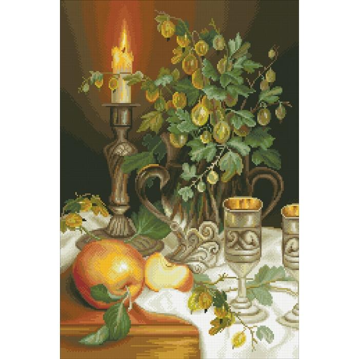 Набор Паутинка для изготовления картины со стразами арт.М252 Свеча и крыжовник 40х60 см