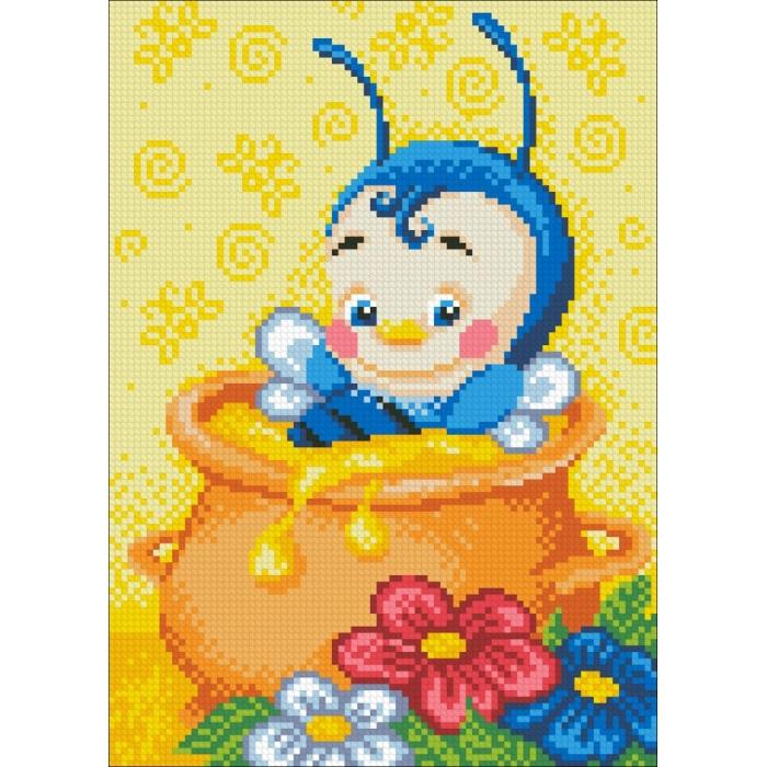 Набор Паутинка для изготовления картины со стразами арт.М150 Медовое счастье 20х28 см