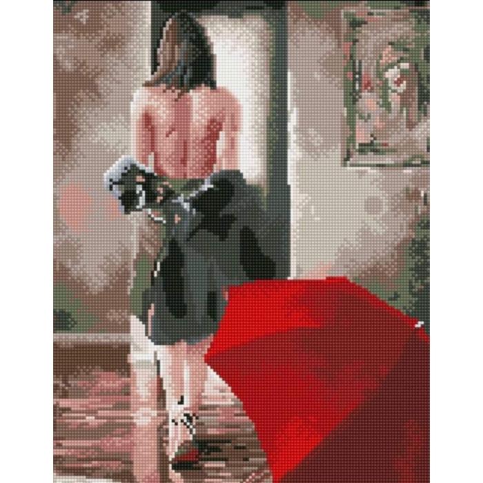 Алмазная вышивка Красный зонт LG112 40х50 тм Цветной