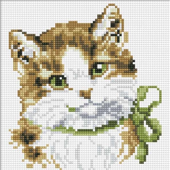 Набор Белоснежка для изготовления картин со стразами на подрамнике арт.БЛ.015-ST-S Кошка Алиса 20х20см