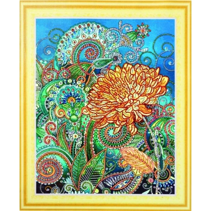 Набор Колор Кит картина алмазная с фигурными стразами арт.КК.FKU018 Золотая хризантема 40х50