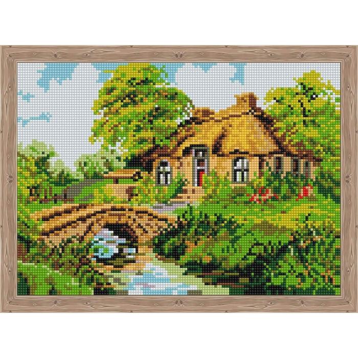 Алмазная вышивка Дом с каменным мостиком QS200032 30х40 тм Цветной