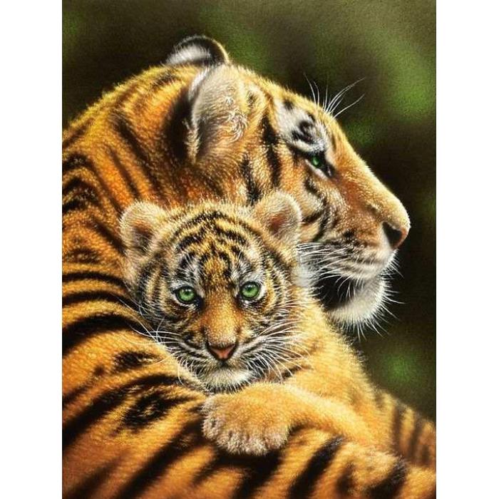 Алмазная мозаика Ah51521 Тигрица с тигренком 30х40