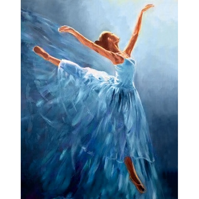 Алмазная мозаика на холсте ГРАННИ арт.Ag2334 Балерина в голубом 38х48см