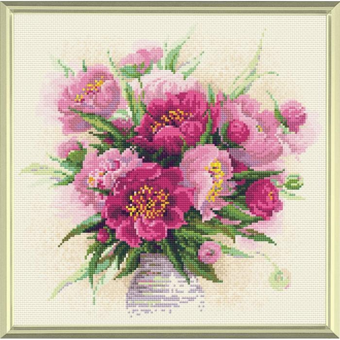 Набор РИОЛИС мозаичная картина арт.AM0009 Пионы в вазе 38х38 см
