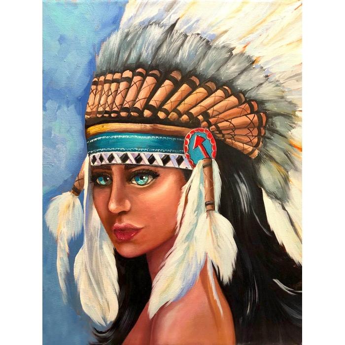 Алмазная вышивка Индейская девушка LMC012 50х65 тм Цветной