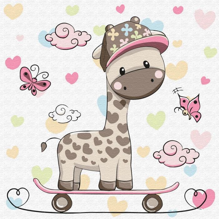 Картины по номерам Molly арт.KH0451 Жирафик на скейтборде (12 цветов) 20х20 см