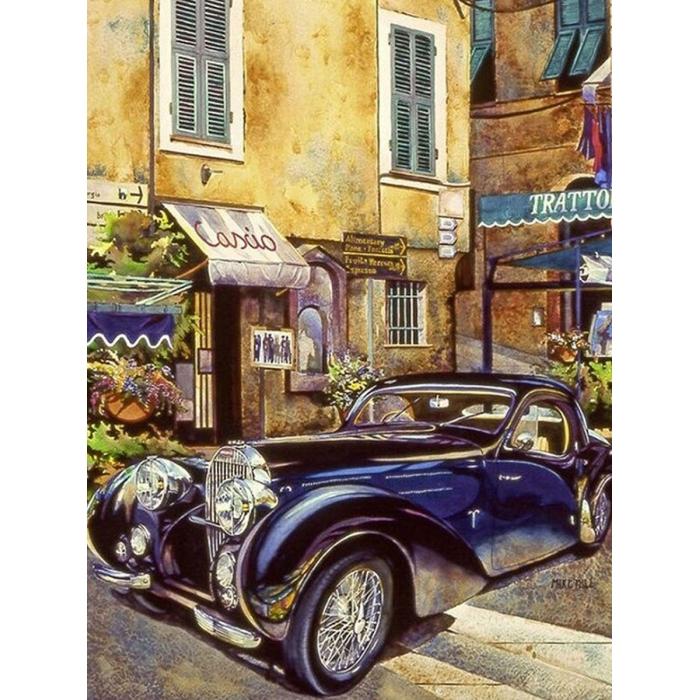Картина по номерам с цветной схемой на холсте Molly арт.KK0681 Бугатти 1939 г. 30х40 см