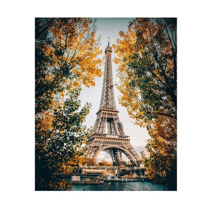 Картина по номерам с цветной схемой на холсте Molly арт.KK0609 Париж. Эйфелева башня (16 цветов) 30х40 см
