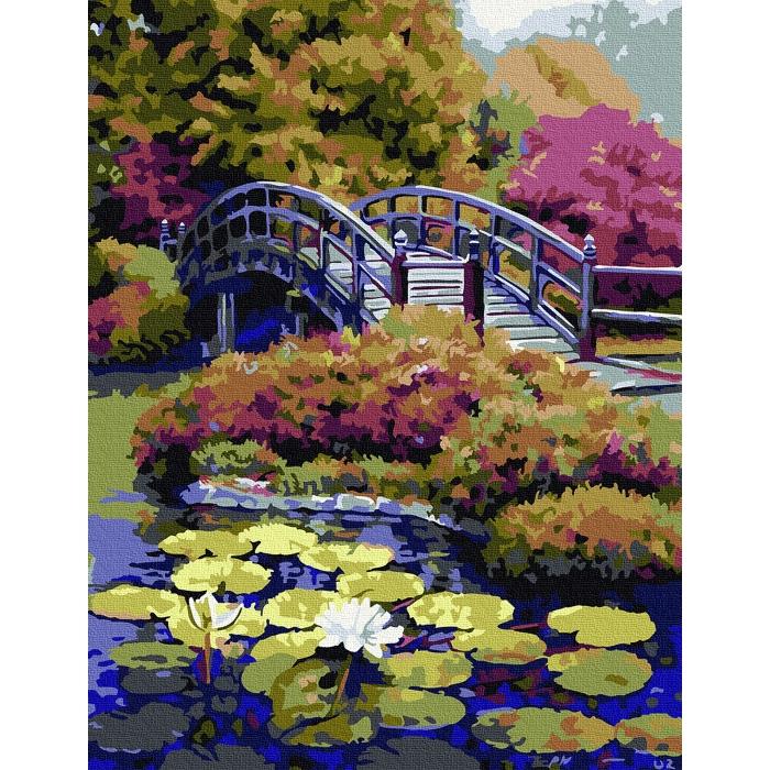 Картина по номерам с цветной схемой на холсте Molly арт.KK0671 Японский сад 30х40 см