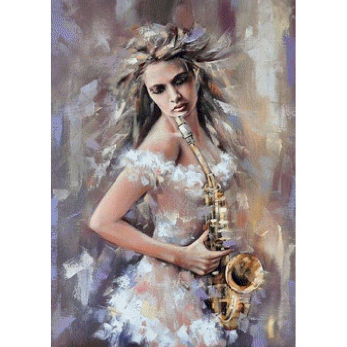 Картина по номерам с цветной схемой на холсте Molly арт.KK0682 Саксофонистка 30х40 см