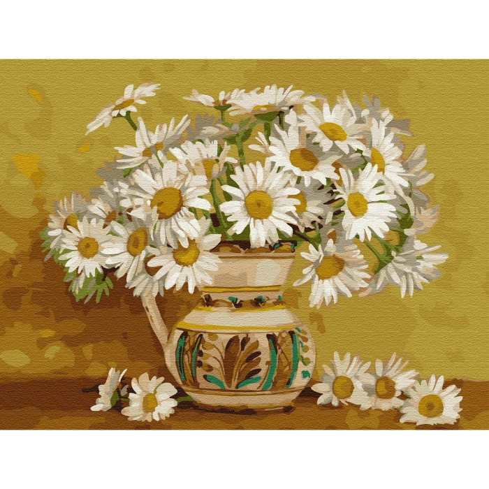 Картина по номерам с цветной схемой на холсте Molly арт.KK0663 Бузин. Ромашковое кружево (20 цветов) 30х40 см