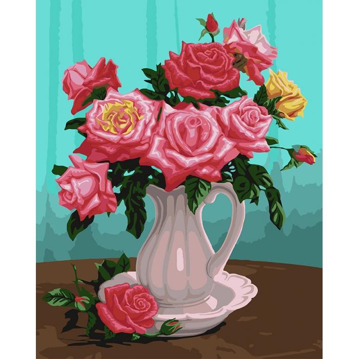 Картины по номерам на дереве Flamingo ФТ.FLA011 Розы в белой вазе 40х50 см