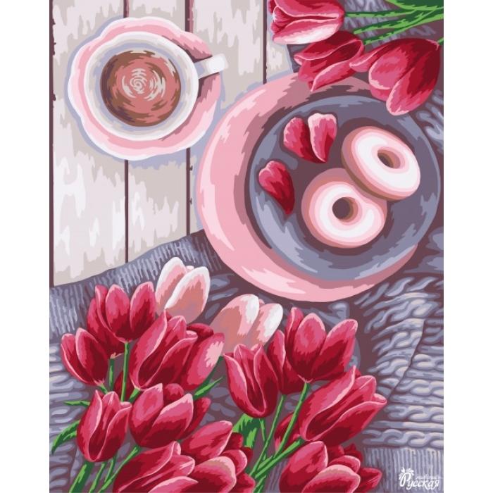 Картины по номерам на картоне Русская Живопись ФТ.RN027 Весенние тюльпаны 40х50 см