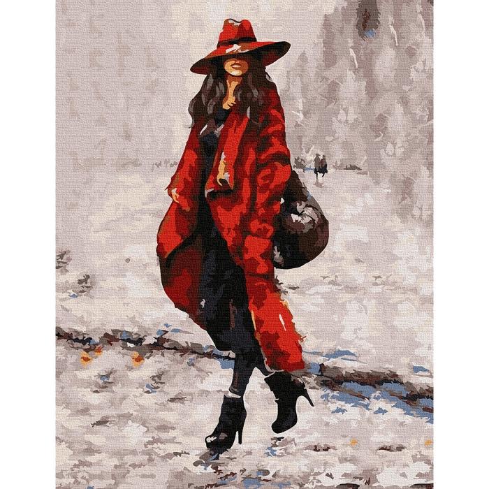 Картина по номерам с цветной схемой на холсте Molly арт.KK0667 Девушка в красном 30х40 см