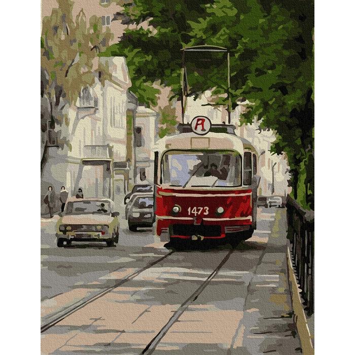 Картина по номерам с цветной схемой на холсте Molly арт.KK0665 Трамвай Аннушка 30х40 см