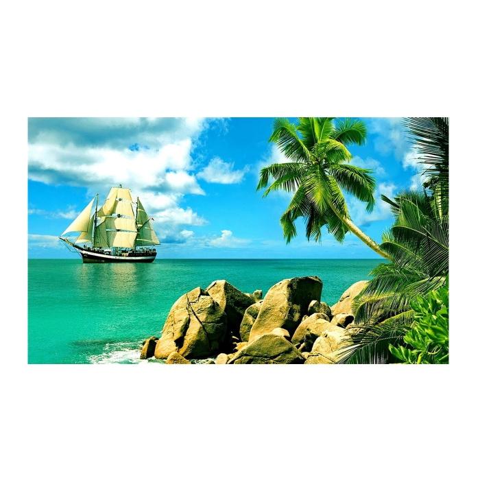 Картина по номерам с цветной схемой на холсте Molly арт.KK0619 Сейшельские острова (19 цветов) 30х40 см