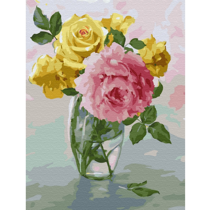 Картина по номерам с цветной схемой на холсте Molly арт.KK0660 Бузин. Пионы и розы (24 цвета) 30х40 см