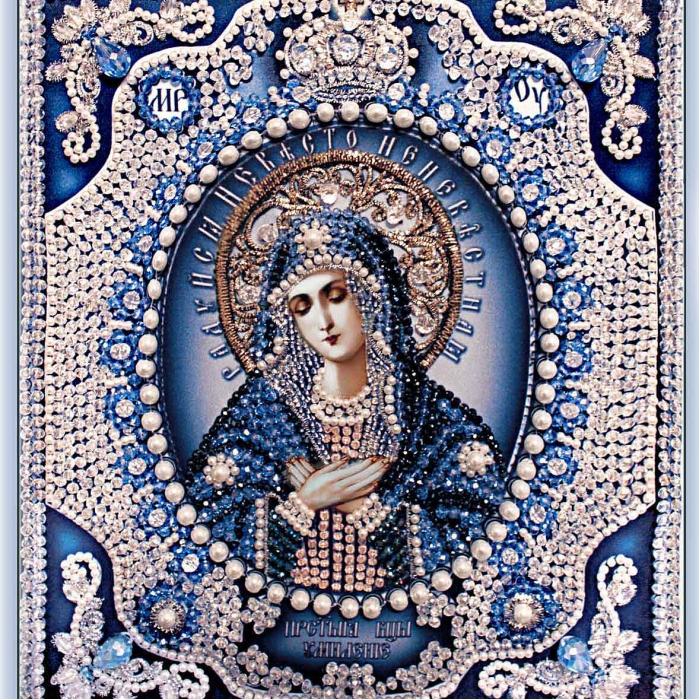 Набор для вышивания хрустальными бусинами ОБРАЗА В КАМЕНЬЯХ арт. 7725 Богородица Умиление (Майерика) 21,5х 24,5 см