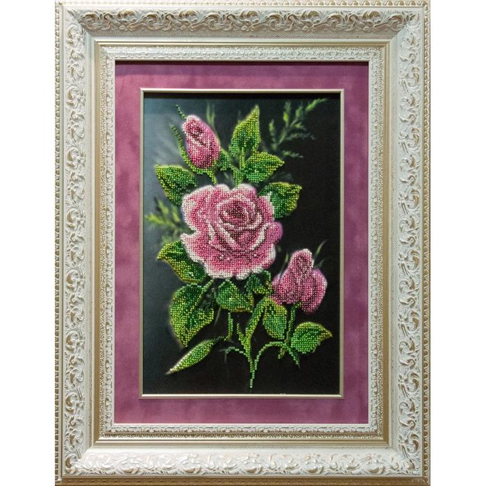 Набор для вышивания бисером МАТРЕНИН ПОСАД арт.28х34 - 0030/Б Роза в ночи
