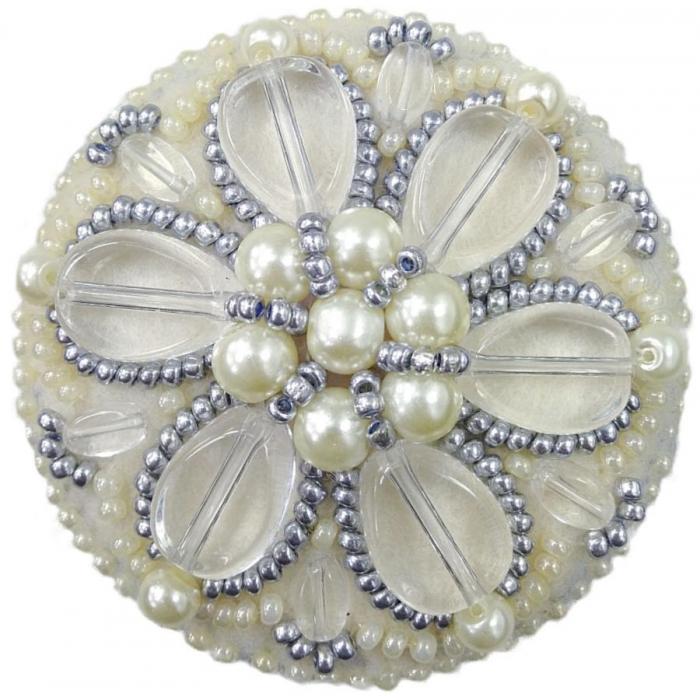 Набор для бисероплетения Crystal Art арт.БП-196 Жемчужные лепестки брошь 5,5х5,5 см