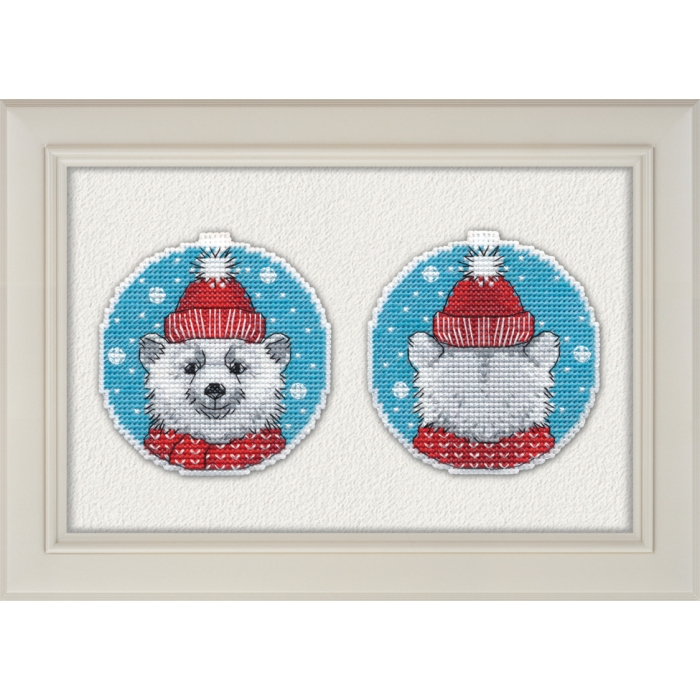 Набор для вышивания ОВЕН арт. 1150 Новогодний мишка 8,4х8,8 см