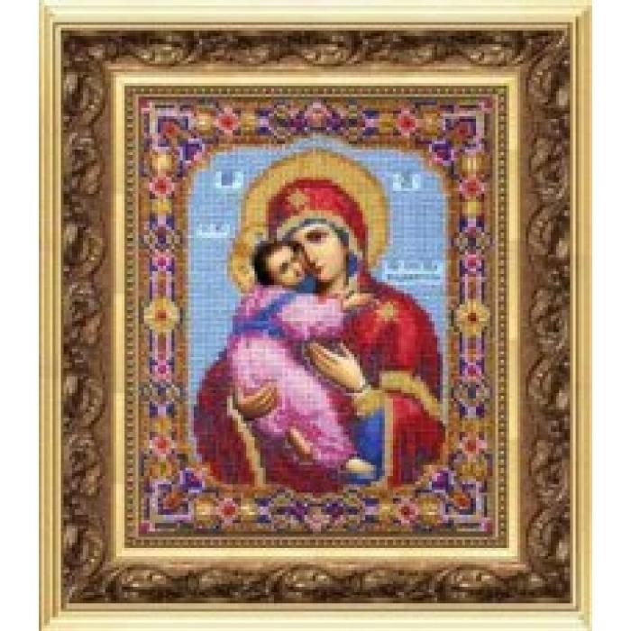Набор для вышивания бисером ЧАРИВНА МИТЬ арт.Б-1007 Божья Матерь Владимирская 17,2х21,6 см