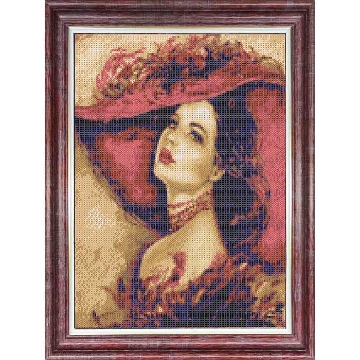Канва с нанесенным рисунком КАРОЛИНКА арт. КК-059 Дама в шляпе 23х30 см