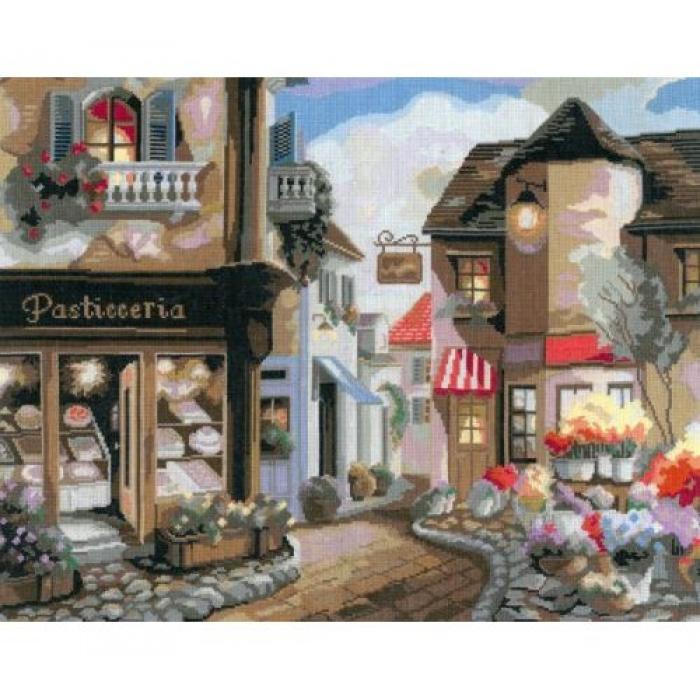 Набор для вышивания мулине НИТЕКС арт.0100 Цветочная улица 45х35 см