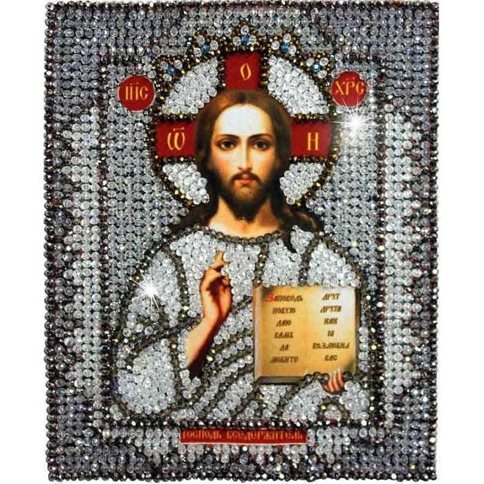 Набор для вышивания хрустальными бусинами ОБРАЗА В КАМЕНЬЯХ арт. 7703 Господь Вседержитель 18х22,5 см
