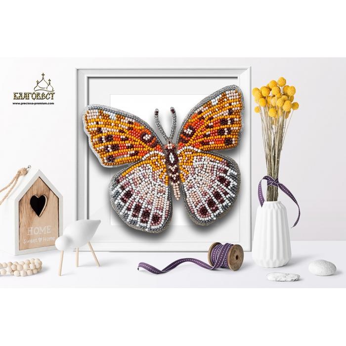 Набор для вышивки бисером 3-D БЛАГОВЕСТ арт.Б-023 Бабочка Euptoieta Claudia 13х11,5 см