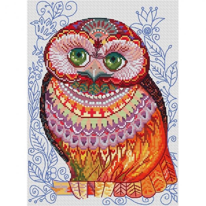 Набор для вышивания нитками БЕЛОСНЕЖКА арт.БЛ.197-14 Медовая сова 20х27,5см