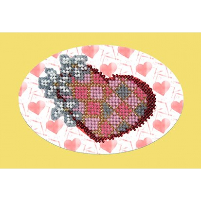 Набор для вышивания ВЫШИВАЛЬНАЯ МОЗАИКА арт. 109ОТ Валентинка с цветами 10х15см