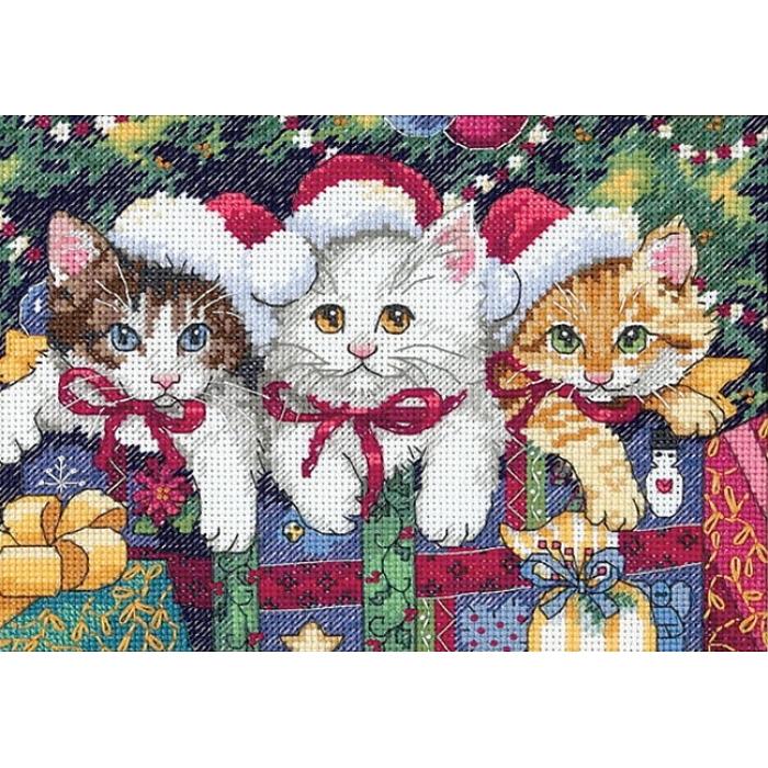 """Набор для вышивания Classic Design арт.4341 """"Новогодние котята"""" 20х14 см"""