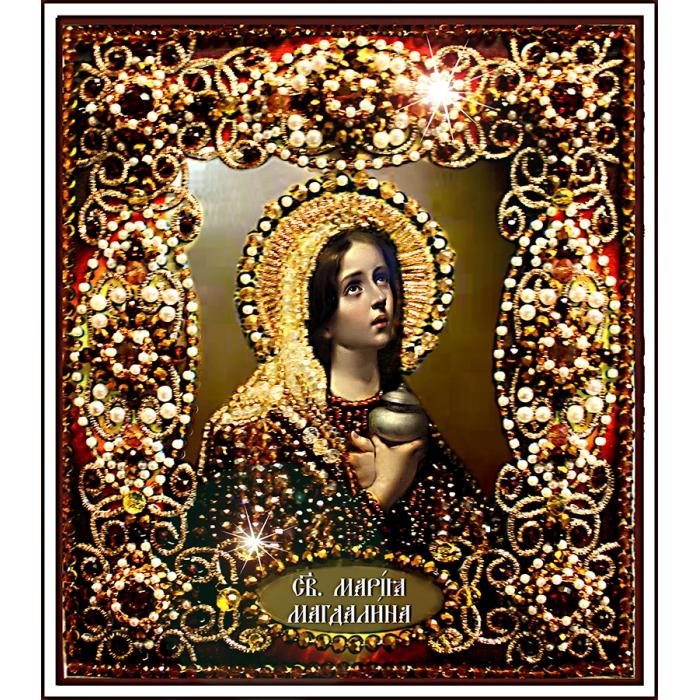 Набор для вышивания хрустальными бусинами ОБРАЗА В КАМЕНЬЯХ арт. 77-И-09 Святая Мария Магдалина 14,5х16,5 см