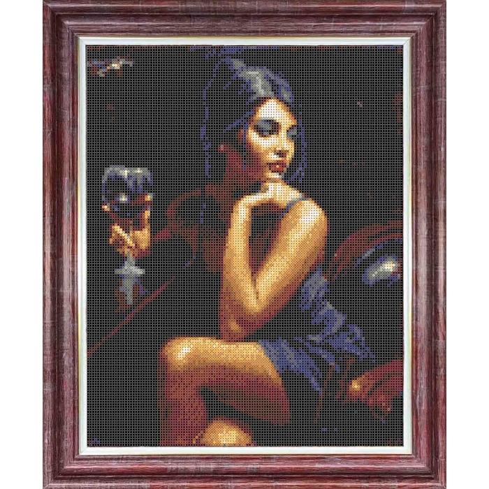 Канва с нанесенным рисунком КАРОЛИНКА арт. КК-049 Девушка с бокалом 23х30 см