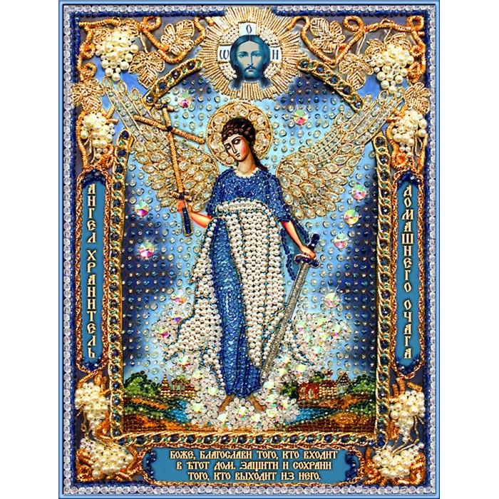 Набор для вышивания хрустальными бусинами ОБРАЗА В КАМЕНЬЯХ арт. 7731 Ангел Хранитель домашнего очага-1 26,5х35,8 см