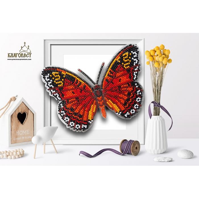 Набор для вышивки бисером 3-D БЛАГОВЕСТ арт.Б-004 Бабочка Цетозия библис 13,5х10 см