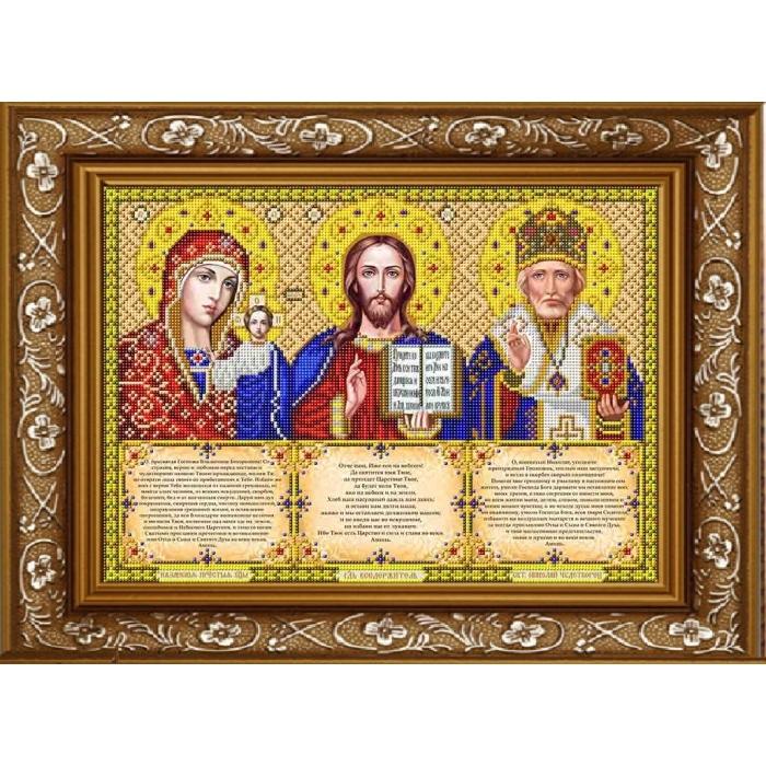 Рисунок на габардине СЛАВЯНОЧКА арт. ИС-3003 Триптих с молитвами в золоте 28х38 см