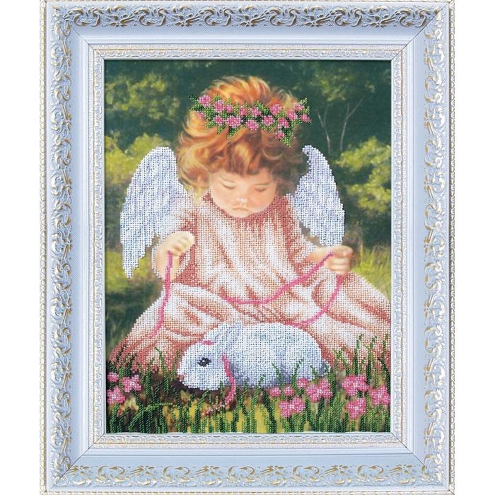 Набор для вышивания бисером МАГИЯ КАНВЫ арт.Б094 Ангел с кроликом 24,5х32,5 см