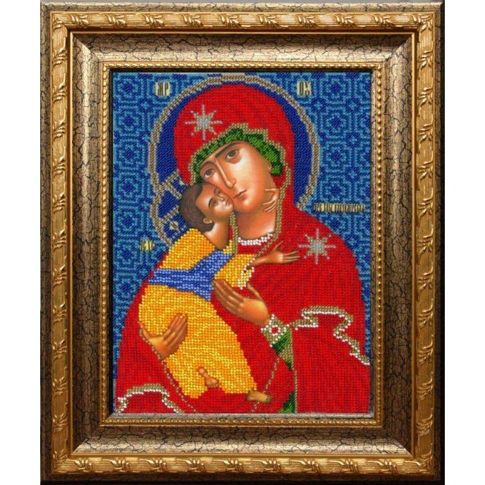 Набор для вышивания бисером ВЫШИВАЕМ БИСЕРОМ арт.L160 Икона Владимирской Божьей Матери 19х25 см
