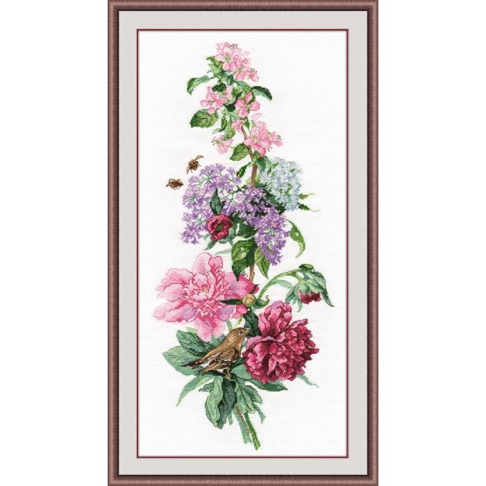 Набор для вышивания ОВЕН арт. 1000 Цветочная композиция. Пионы 19х44 см