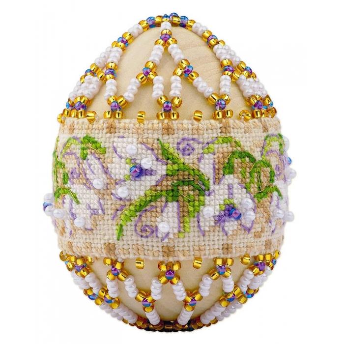Набор для бисероплетения РИОЛИС арт.В212 Яйцо пасхальное Подснежники 6,5х5 см